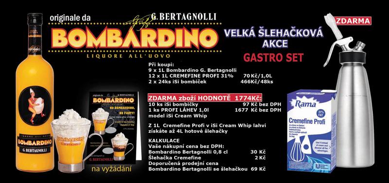9 x Bombardino G. Bertagnolli + 12 x Rama Cremefine + zdarma iSi Profi láhev na šlehačku