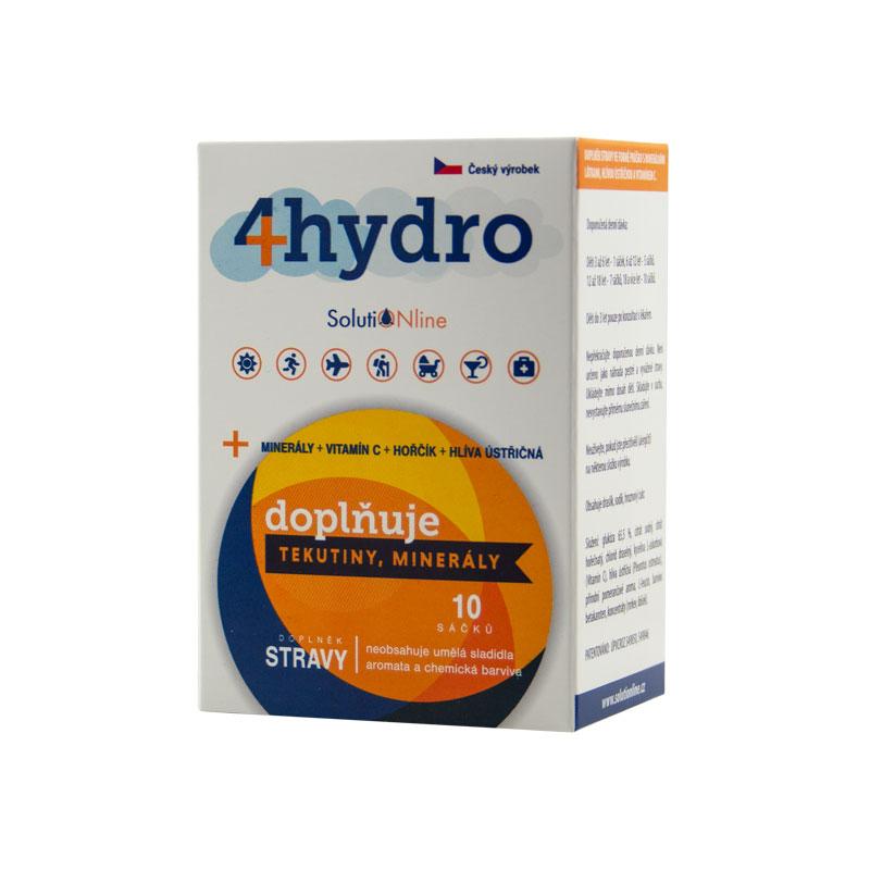 4hydro, rehydratační nápoj, doplněk stravy, 10 sáčků - SolutiONline