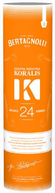 Dárkové balení Grappa Koralis K24 Bertagnolli 0,7l, 40% Vol.