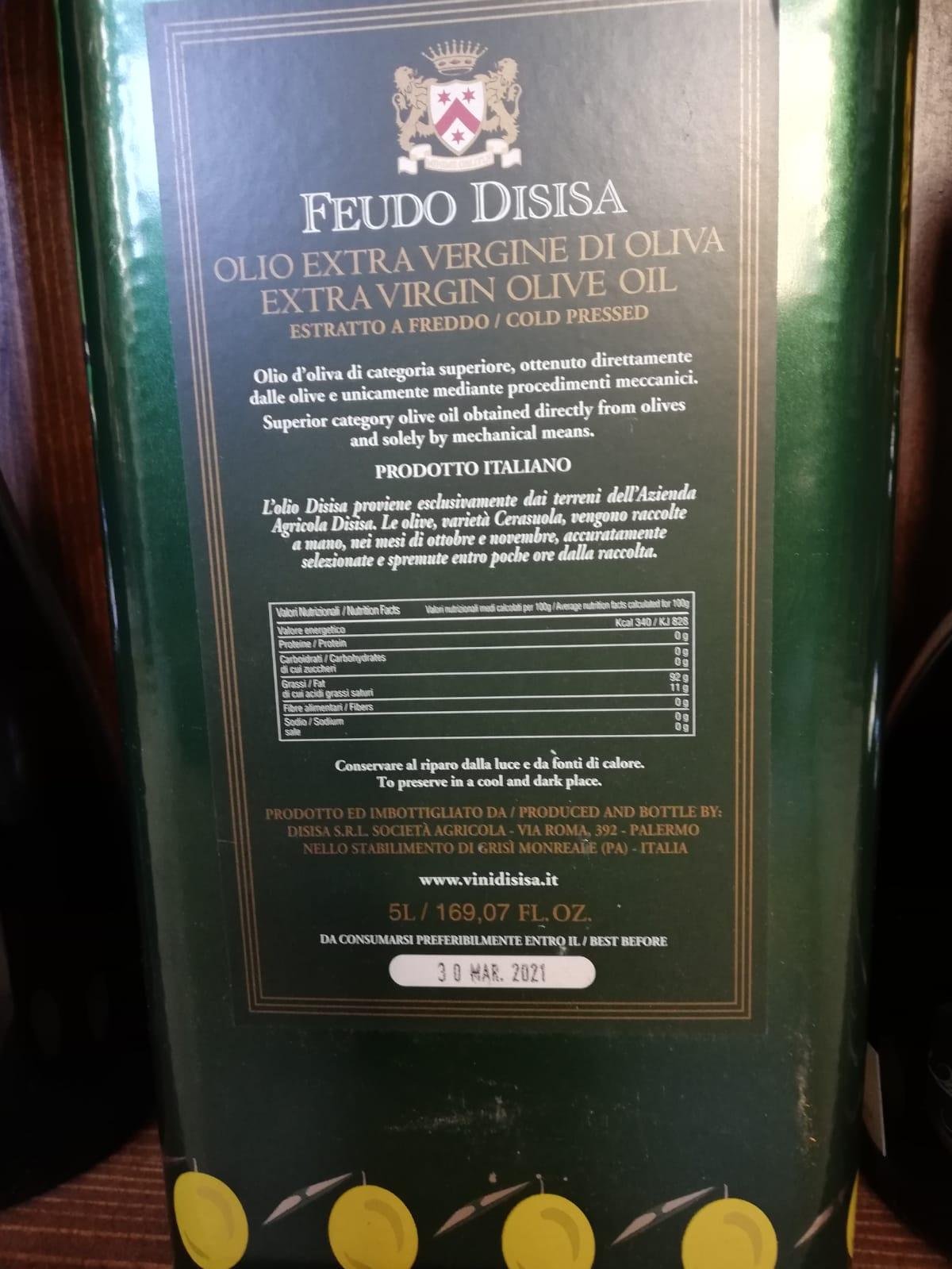 Extra panenský nefiltrovaný olivový olej I.G.P. Sicílie, výrobce Feudo Dissisa 5000ml, gastro balení
