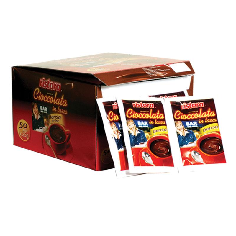 RISTORA směs: sypká směs pro přípravu nápoje s příchutí čokolády 50 ks x 25g (bez lepku) jednoporcová